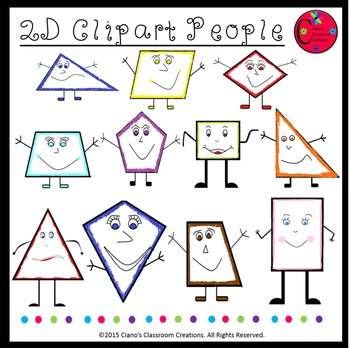 2D Shapes Clipart People (Set of 12)
