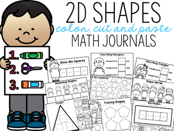 2D Shapes Color, Cut, and Paste Math Journal for Special Education