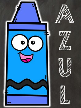 2D Shapes & Color Posters- in Spanish (Chalkboard Theme)