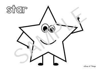 2D Shapes Coloring Pages - worksheets - workbook - Colouring Book