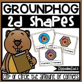 2D Shapes Corner Task Cards Groundhog Theme