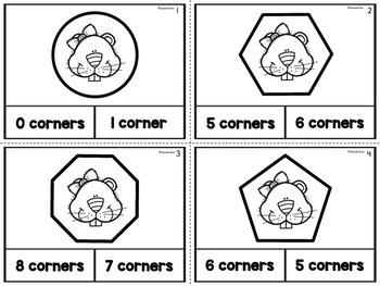2D Shapes Corner Task Cards Groundhog Theme