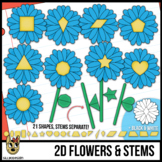 2D Shapes: Daisy Flowers and Seperate Stems