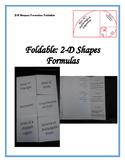 2D Shapes Formulas Foldable