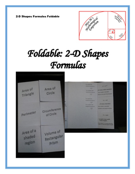 2D Shapes Formulas Foldable