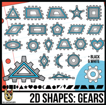 2D Shapes: Gears/Cogs Clip Art