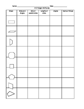 2D Shapes: Graphic Organizer