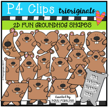 2D Shapes Groundhogs {P4 Clips Trioriginals Digital Clipart}
