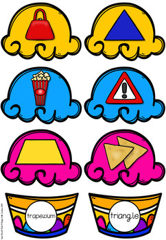 2D Shapes Ice Cream Scoops Matching Activity