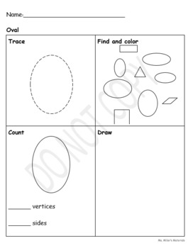 2D Shapes Identification and tracing sheet