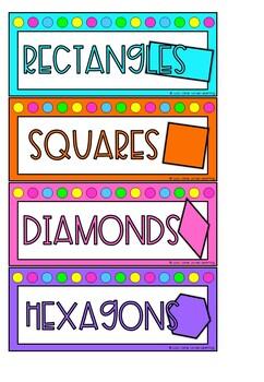 2D Shapes Math Group Labels