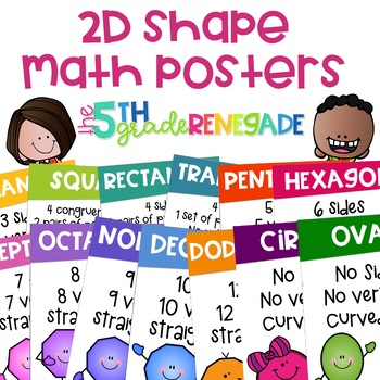 2D Shapes Math Posters ~13 Color Posters~