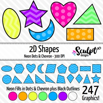 2D Shapes Clip Art ~ 19 Different Shapes in Neon Chevrons & Dots