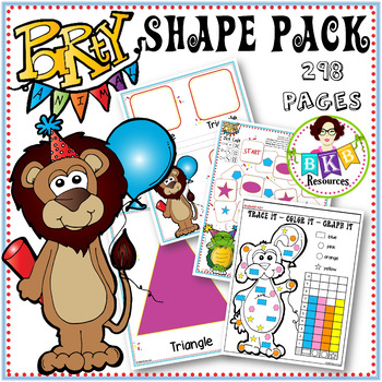 2D Shapes ● Party Animal Shape Pack ● Printables ● Games