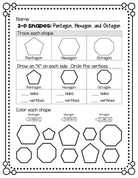 2D Shapes - Pentagon, Hexagon, and Octagon