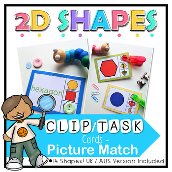 2D Shapes Picture Match Clip Cards, Task Cards