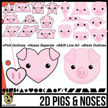 2D Shapes: Pig Faces and Noses Clip Art