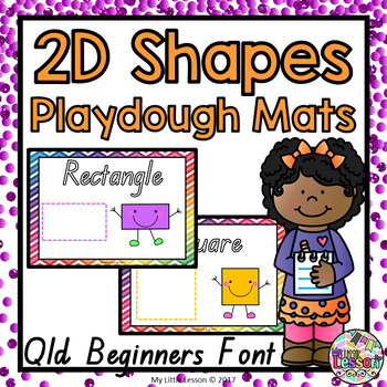 2D Shapes Playdough Mats QLD Beginners Font