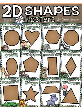 2D Shapes Poster Set Jungle Safari Theme
