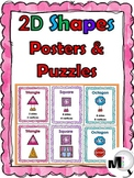 2D Shape Anchor Charts  with Attributes & Real-World Examples & Puzzles