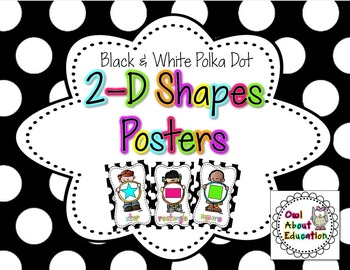 2D Shapes Posters {Black and White Polka Dot}