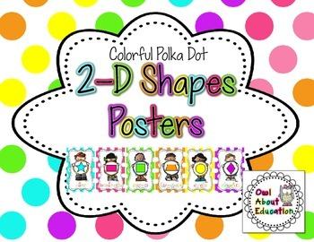 2D Shapes Posters {Bright Polka Dot}