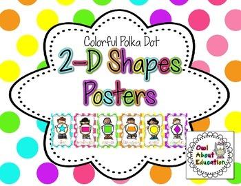 2D Shapes Posters {Bright Polka Dot}