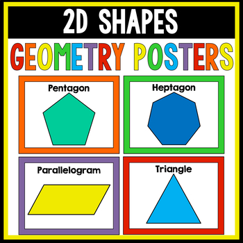 2D Shapes Posters SOLID rainbow colors   Geometry Posters
