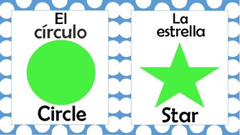 2D Shapes Posters Spanish/English (Blue/Green)