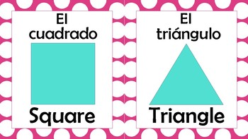 2D Shapes Posters Spanish/English (Blue and Pink)