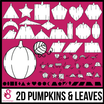 2D Shapes: Pumpkins and Leaves Clip Art