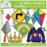 2D Shapes Real Life Objects Clip Art: Diamonds