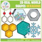 2D Shapes Real Life Objects Clip Art: Hexagons