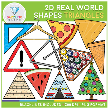 2D Shapes Real Life Objects Clip Art: Triangles