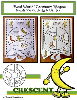 "2D Shapes ""Real World"" CRESCENT Puzzle Pie Activity & Center Game"