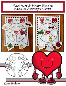 """2D Shapes """"Real World"""" HEART Puzzle Pie Activity & Center Game"""