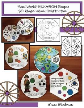 "2D Shapes: ""Real World"" HEXAGON Shapes Wheel Craftivities"