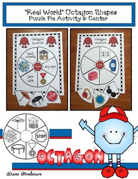 """2D Shapes: """"Real World"""" OCTAGON Puzzle Pie Activity & Center Game"""