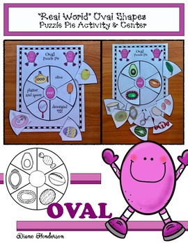 "2D Shapes: ""Real World"" OVAL Puzzle Pie Activity & Center Game"