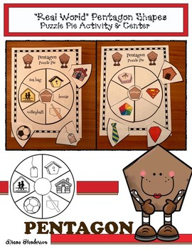 "2D Shapes: ""Real World"" PENTAGON Puzzle Pie Activity & Center Game"