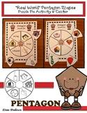 """2D Shapes: """"Real World"""" PENTAGON Puzzle Pie Activity & Cen"""