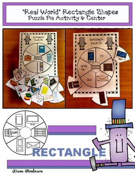 """2D Shapes: """"Real World"""" RECTANGLE Puzzle Pie Activity & Center Game"""