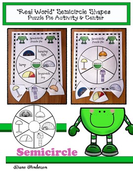 """2D Shapes """"Real World"""" SEMICIRCLE Puzzle Pie Activity & Center Game"""