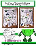 "2D Shapes ""Real World"" SEMICIRCLE Puzzle Pie Activity & Ce"
