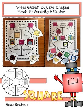 """2D Shapes: """"Real World"""" SQUARE Puzzle Pie Activity & Center Game"""