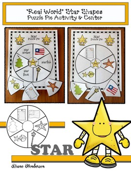 """2D Shapes """"Real World"""" STAR Puzzle Pie Activity & Center Game"""