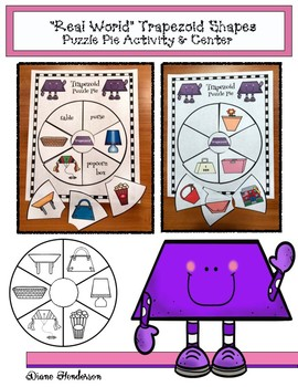 "2D Shapes: ""Real World"" TRAPEZOID Puzzle Pie Activity & Ce"