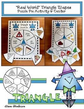 """2D Shapes: """"Real World"""" TRIANGLE Puzzle Pie Activity & Center Game"""