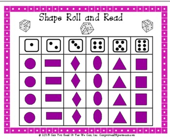 2D Shapes Roll and Read Center Game