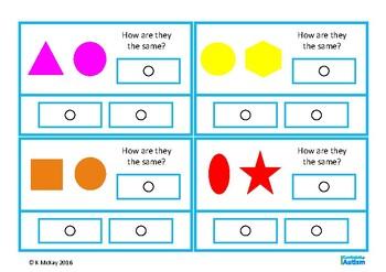 Same Different 2D Shapes Visual Discrimination Autism Special Education